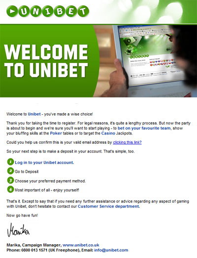 Unibet poker email welcome